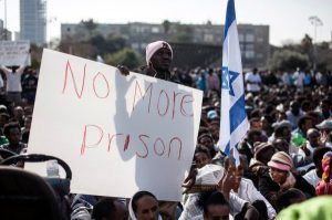 African migrants take part in a protest at Rabin Square in Tel Aviv